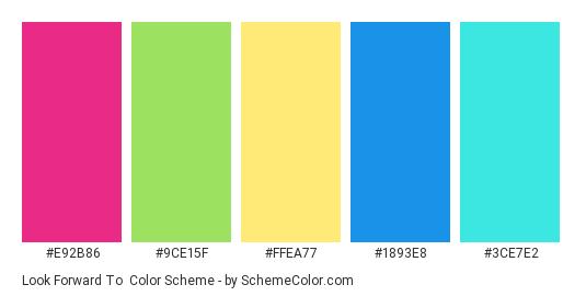 Look Forward To - Color scheme palette thumbnail - #e92b86 #9ce15f #ffea77 #1893e8 #3ce7e2
