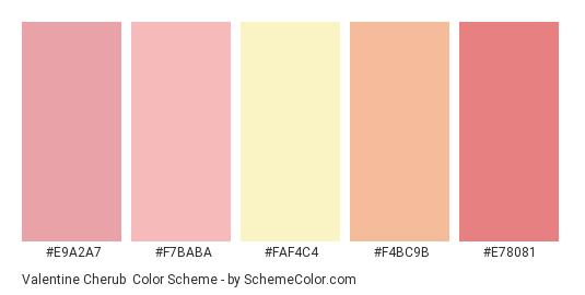 Valentine Cherub - Color scheme palette thumbnail - #e9a2a7 #f7baba #faf4c4 #f4bc9b #e78081