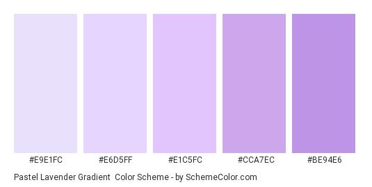 Pastel Lavender Gradient - Color scheme palette thumbnail - #e9e1fc #e6d5ff #e1c5fc #cca7ec #BE94E6