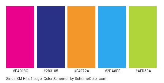 Sirius XM Hits 1 Logo - Color scheme palette thumbnail - #ea018c #283185 #f4972a #2da8ee #afd53a
