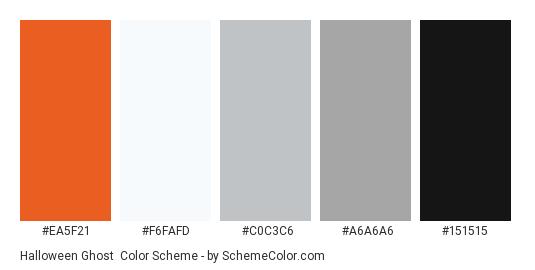 Halloween Ghost - Color scheme palette thumbnail - #ea5f21 #f6fafd #c0c3c6 #a6a6a6 #151515