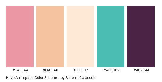 Have an Impact - Color scheme palette thumbnail - #ea99a4 #f6c3a0 #fee9d7 #4cbdb2 #4b2344
