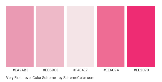 Very First Love - Color scheme palette thumbnail - #ea9ab3 #eeb9c8 #f4e4e7 #ee6c94 #ee2c73