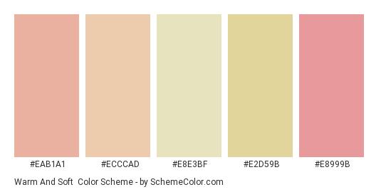 Warm and Soft - Color scheme palette thumbnail - #eab1a1 #ecccad #e8e3bf #e2d59b #e8999b