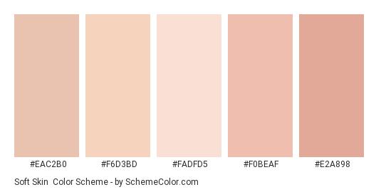 Soft Skin - Color scheme palette thumbnail - #eac2b0 #f6d3bd #fadfd5 #f0beaf #e2a898