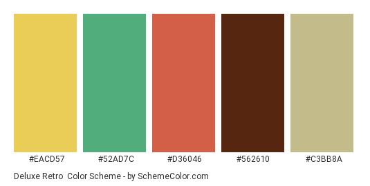Deluxe Retro - Color scheme palette thumbnail - #eacd57 #52ad7c #d36046 #562610 #c3bb8a