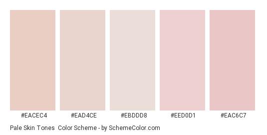 Pale Skin Tones - Color scheme palette thumbnail - #eacec4 #ead4ce #ebddd8 #eed0d1 #eac6c7