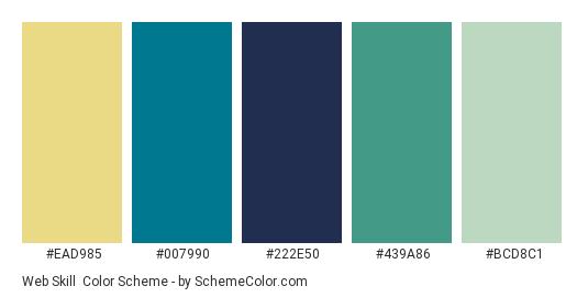 Web Skill - Color scheme palette thumbnail - #ead985 #007990 #222e50 #439a86 #bcd8c1
