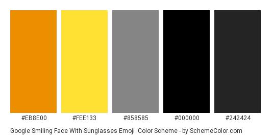 Google Smiling Face With Sunglasses Emoji - Color scheme palette thumbnail - #eb8e00 #fee133 #858585 #000000 #242424