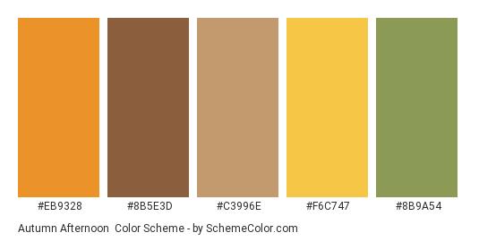 Autumn Afternoon - Color scheme palette thumbnail - #eb9328 #8b5e3d #c3996e #f6c747 #8b9a54