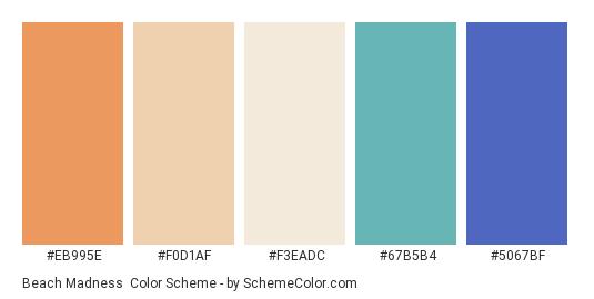 Beach Madness - Color scheme palette thumbnail - #eb995e #f0d1af #f3eadc #67b5b4 #5067bf
