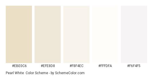 Pearl White - Color scheme palette thumbnail - #ebe0c6 #efe8d8 #f8f4ec #fffdfa #f6f4f5