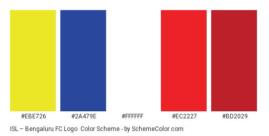 ISL – Bengaluru FC Logo - Color scheme palette thumbnail - #ebe726 #2a479e #ffffff #ec2227 #bd2029