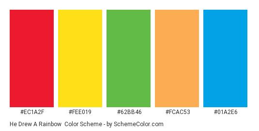 He Drew a Rainbow - Color scheme palette thumbnail - #ec1a2f #fee019 #62bb46 #fcac53 #01a2e6