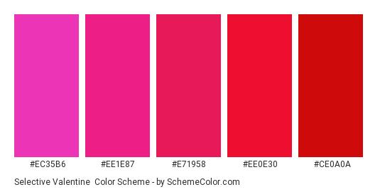 Selective Valentine - Color scheme palette thumbnail - #ec35b6 #ee1e87 #e71958 #ee0e30 #ce0a0a