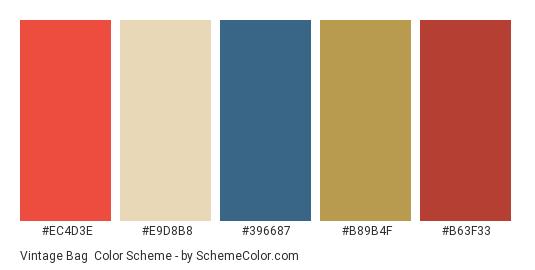 Vintage Bag - Color scheme palette thumbnail - #ec4d3e #e9d8b8 #396687 #b89b4f #b63f33