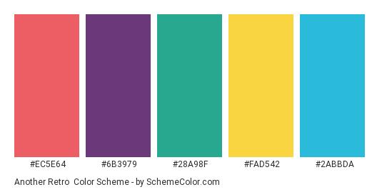 Another Retro - Color scheme palette thumbnail - #ec5e64 #6b3979 #28a98f #fad542 #2abbda