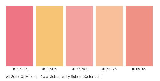 All Sorts of Makeup - Color scheme palette thumbnail - #ec7684 #f5c475 #f4a2a0 #f7bf9a #f09185