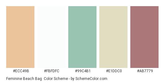 Feminine Beach Bag - Color scheme palette thumbnail - #ecc49b #fbfdfc #99c4b1 #e1ddc0 #ab7779