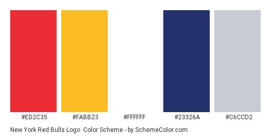 New York Red Bulls Logo - Color scheme palette thumbnail - #ed2c35 #fabb23 #ffffff #23326a #c6ccd2