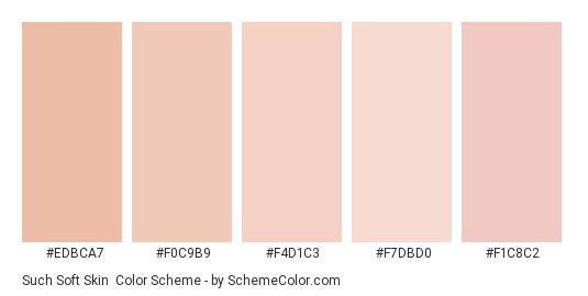 Such Soft Skin - Color scheme palette thumbnail - #edbca7 #f0c9b9 #f4d1c3 #f7dbd0 #f1c8c2