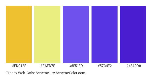 Trendy Web - Color scheme palette thumbnail - #edc12f #eaed7f #6f51ed #5734e2 #4b1dd0