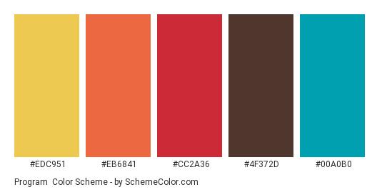 Program - Color scheme palette thumbnail - #edc951 #eb6841 #cc2a36 #4f372d #00a0b0