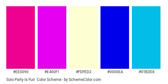 Solo Party Is Fun - Color scheme palette thumbnail - #ee0090 #e400f1 #FdFeD2 #0000ea #01bde8