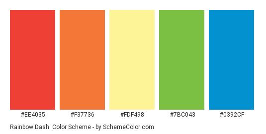 Rainbow Dash - Color scheme palette thumbnail - #ee4035 #f37736 #fdf498 #7bc043 #0392cf