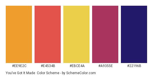 You've Got It Made - Color scheme palette thumbnail - #ee9e2c #e4534b #ebce4a #a9355e #22196b