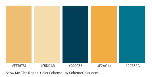 Show me the Ropes - Color scheme palette thumbnail - #eebe73 #f5ddab #003f56 #f2ac44 #00758c