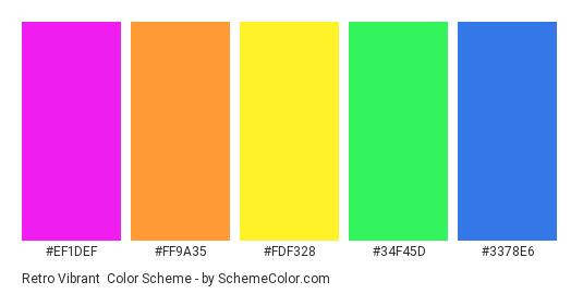 Retro Vibrant - Color scheme palette thumbnail - #ef1def #ff9a35 #fdf328 #34f45d #3378e6