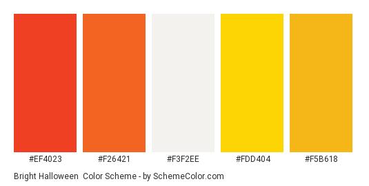 Bright Halloween - Color scheme palette thumbnail - #ef4023 #f26421 #f3f2ee #fdd404 #f5b618