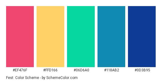 Fest - Color scheme palette thumbnail - #ef476f #ffd166 #06d6a0 #118ab2 #0D3B95