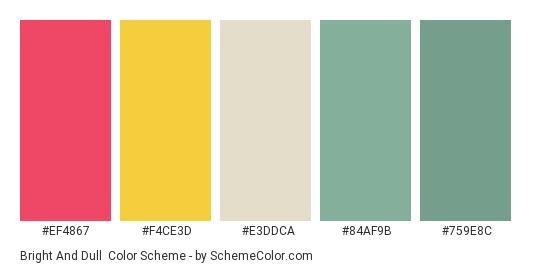 Bright and Dull - Color scheme palette thumbnail - #ef4867 #f4ce3d #e3ddca #84af9b #759e8c