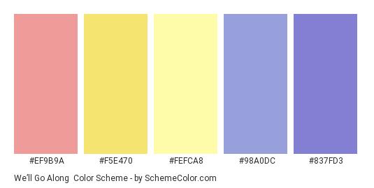 We'll Go Along - Color scheme palette thumbnail - #ef9b9a #f5e470 #fefca8 #98a0dc #837fd3