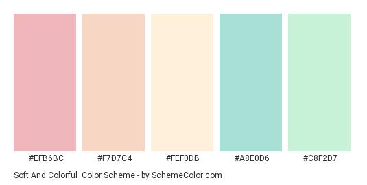 Soft and Colorful - Color scheme palette thumbnail - #efb6bc #f7d7c4 #fef0db #a8e0d6 #c8f2d7