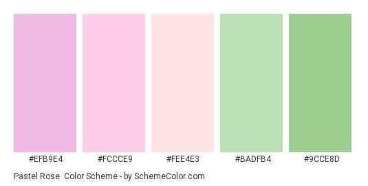 Pastel Rose - Color scheme palette thumbnail - #efb9e4 #fccce9 #fee4e3 #badfb4 #9cce8d