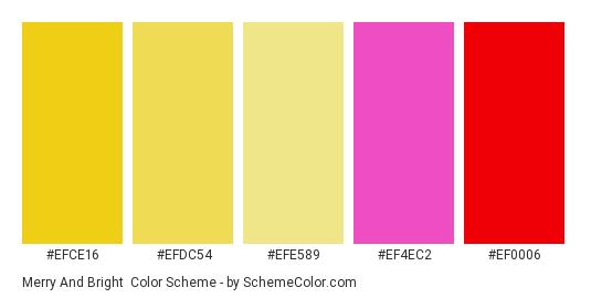 Merry and Bright - Color scheme palette thumbnail - #efce16 #efdc54 #efe589 #ef4ec2 #ef0006