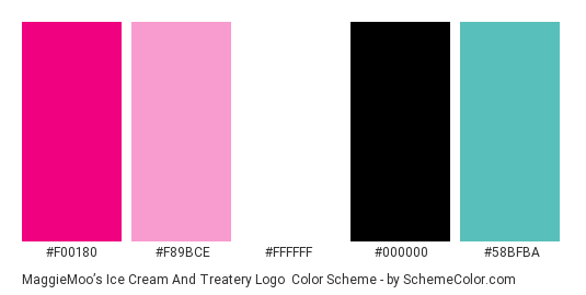 MaggieMoo's Ice Cream and Treatery Logo - Color scheme palette thumbnail - #f00180 #f89bce #ffffff #000000 #58bfba
