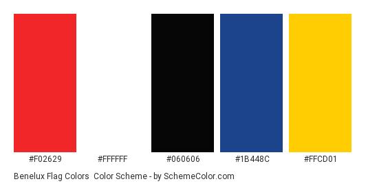 Benelux Flag Colors - Color scheme palette thumbnail - #f02629 #ffffff #060606 #1b448c #ffcd01