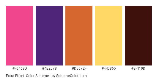 Extra Effort - Color scheme palette thumbnail - #f0468d #4e2578 #d5672f #ffd865 #3f110d