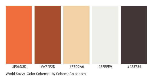 World Savvy - Color scheme palette thumbnail - #f06d3d #a74f2d #f3d2a6 #efefe9 #423736
