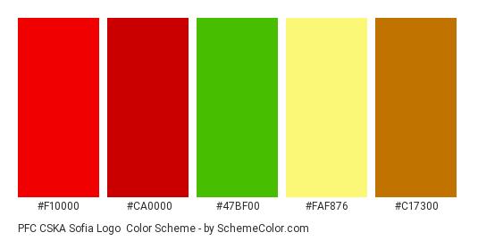 PFC CSKA Sofia Logo - Color scheme palette thumbnail - #f10000 #ca0000 #47bf00 #faf876 #c17300