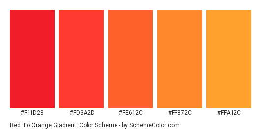 Red to Orange Gradient - Color scheme palette thumbnail - #f11d28 #fd3a2d #fe612c #ff872c #ffa12c