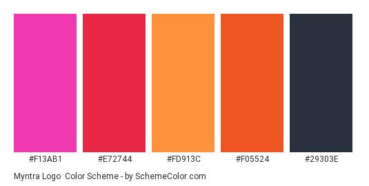 Myntra Logo - Color scheme palette thumbnail - #f13ab1 #e72744 #fd913c #f05524 #29303e