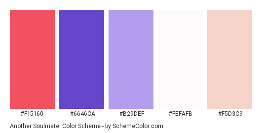 Another Soulmate - Color scheme palette thumbnail - #f15160 #6646ca #b29def #fefafb #f5d3c9
