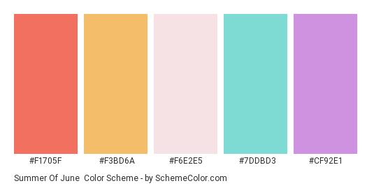 Summer of June - Color scheme palette thumbnail - #f1705f #f3bd6a #f6e2e5 #7ddbd3 #cf92e1