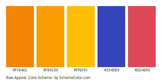 Raw Appeal - Color scheme palette thumbnail - #f18402 #f89c00 #ffbf01 #3345b9 #dd4856