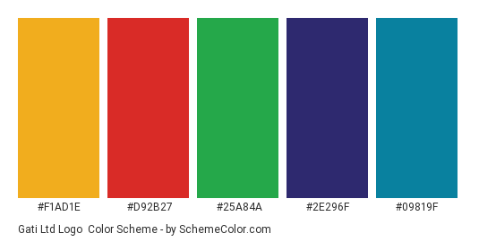 Gati Ltd Logo - Color scheme palette thumbnail - #f1ad1e #d92b27 #25a84a #2e296f #09819f